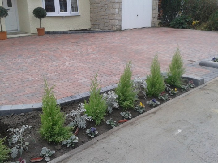 block paving front yard with flowers