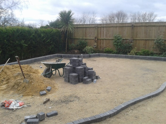 preparing the yard for block paving