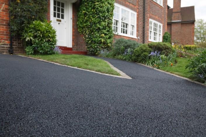 New bitumen driveway outside